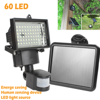 Solar Panel LED Flood Security Garden Light PIR Motion Sensor 60 LEDs Path Wall Lamps Outdoor