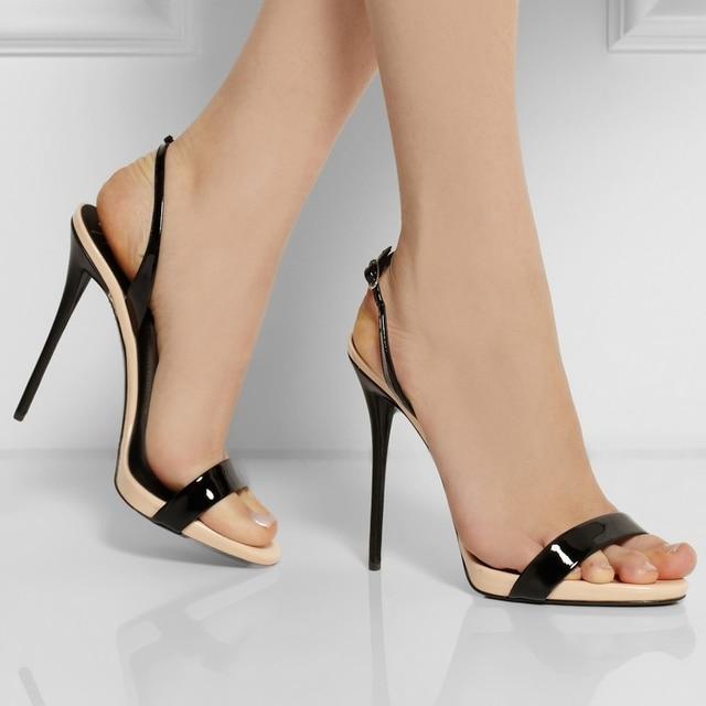 813f9075ace82 Black Open Toe Nude Bottom Women Thin High Heel Shoes Stilettos Ladies  Shoes Sandals Summer Sandal 2015 sapatos femininos