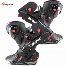 Ulepsz buty motocyklowe Pro wyścigi otwieranie butów profesjonalna jazda antypoślizgowe skórzane buty motocyklowe Mircrofiber