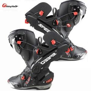 Image 1 - Ulepsz buty motocyklowe Pro wyścigi otwieranie butów profesjonalna jazda antypoślizgowe skórzane buty motocyklowe Mircrofiber