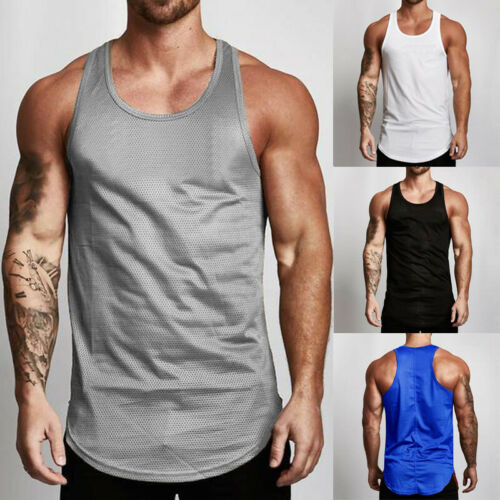6 Colors Mens Fitness Activewear Sleeveless   Tops   Man Casual   Tank     Tops   Gym Bodybuilding Muscle Vest 2019 NEW Arrival M-XXL