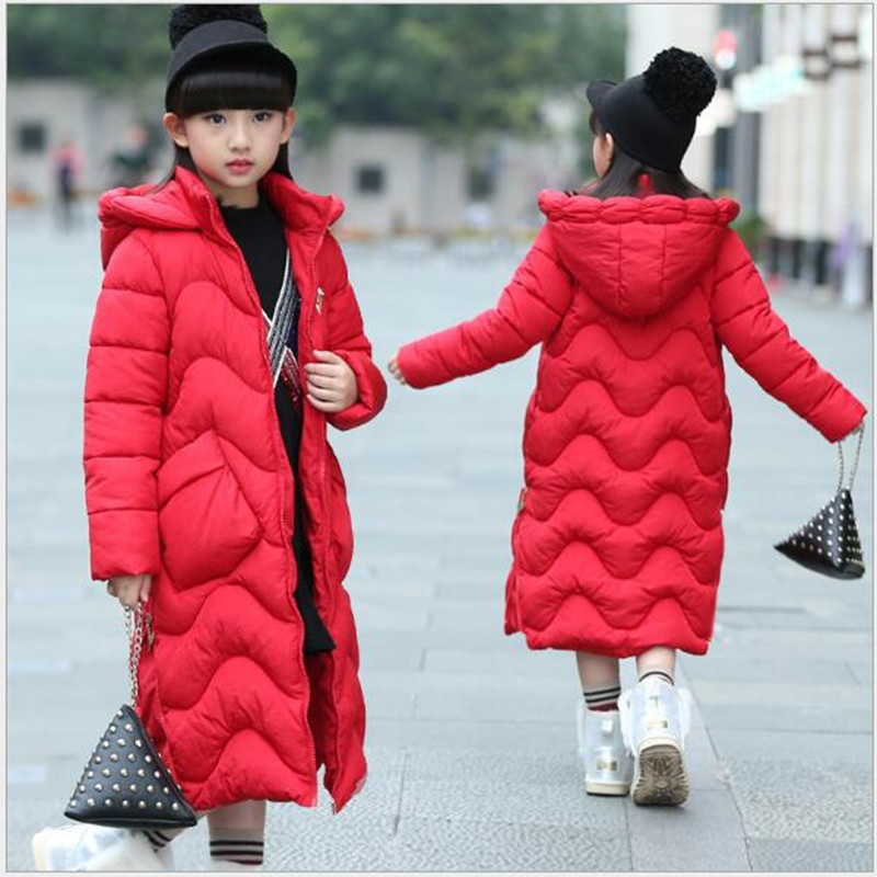 Winter clothing new girl down cotton-padded children's long version of the Korean version of the cotton coat of cotton. AN35 lucky panda 2016 large size fur collar down in the long section of new cotton padded coat slim lkp239