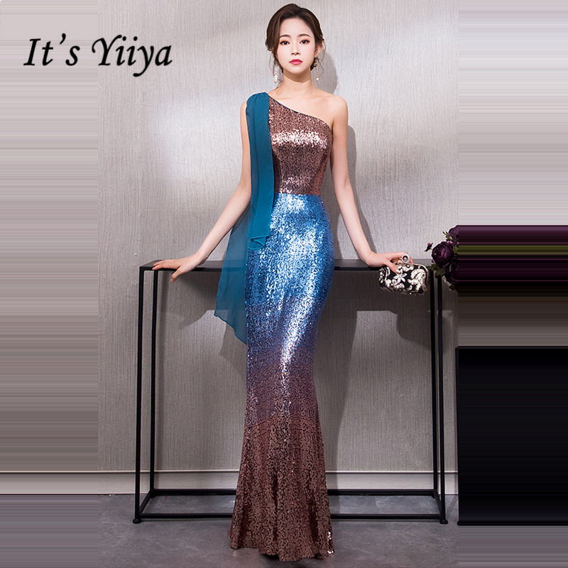 It s YiiYa Evening Dress 2018 One Shoulder Bling Sequined Floor-length  Trumpet Dinner Gowns LX1271 42e1bca73672