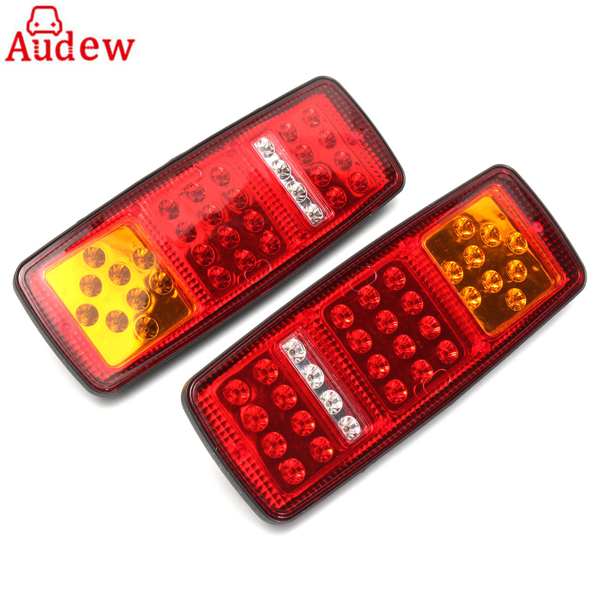 2Pcs 33 LED Trailer Tail Lamp Truck Bus for Van Stop Rear Tail Indicator Lights Reverse Lamp 12V -Waterproof eonstime 2pcs 12v 16 led red white truck trailer boat stop turn tail light reverse light lamp waterproof