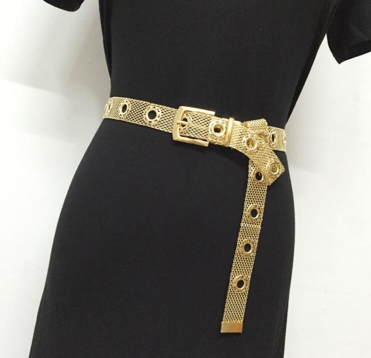 Women's Runway Fashion Mesh Metal Cummerbunds Female Dress Corsets Waistband Belts Decoration Wide Belt R1547