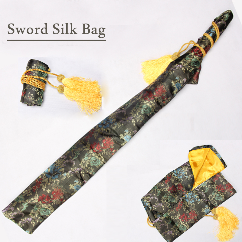 Japanese Samurai Sword Silk Bag Black Gold Red Color Embroidered Flower For Katana / Wakizashi Brand New Supply