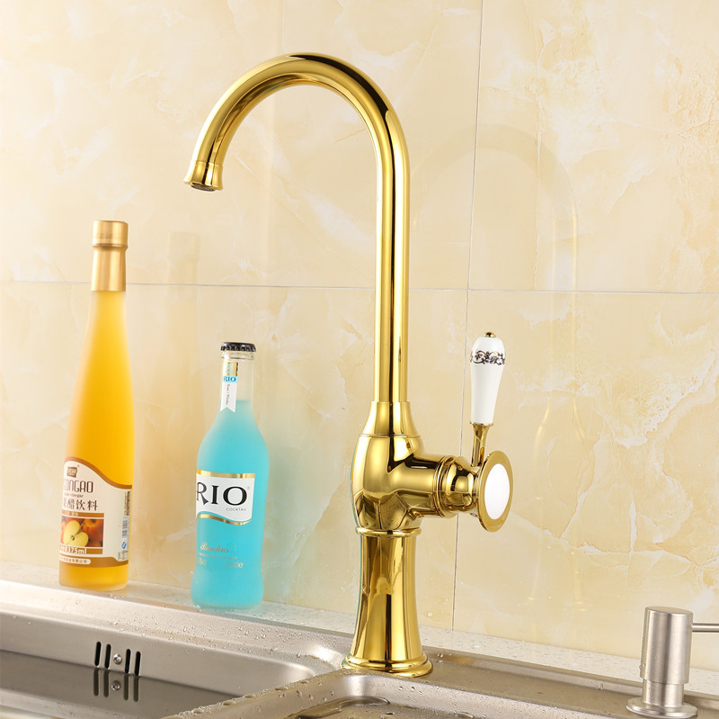 2016 New Arrival High Quality Heavy Solid Brass Single Handle Gold Kitchen  Faucet Pull Out Gooseneck Sink Mixer Tap XKX 8004