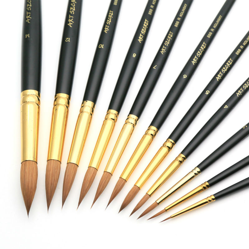 High Quality Pur Kolinsky Watercolor Brush Gold Plated Brass Ferrule Short Wooden Handle Paint Brush 888R