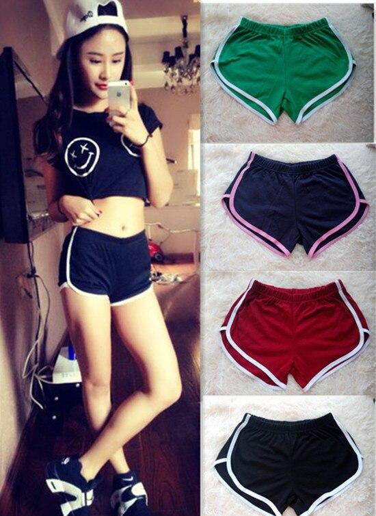 30PCS/LOT Fashion Women Cotton Shorts Contrast Binding Side Split Elastic Waist Loose Casual Shorts Yo-Ga Short Feminino