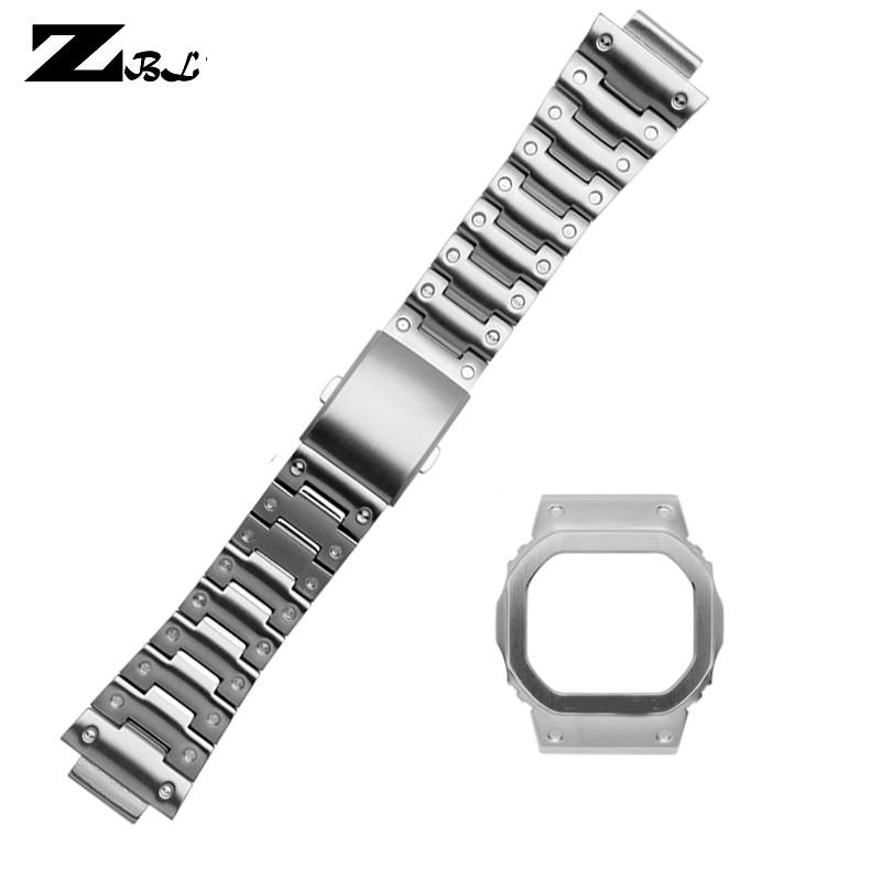 Stainless Steel Watchband Solid Metal Band For Casio DW5600 GW-5000 5035 GW-M5610 Watch Strap And Watch Case Bracelet For Men