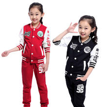 High quality baby girls sets 2015 new autumn baby girl clothing infant baseball uniform pattern sport costume 2 pieces set