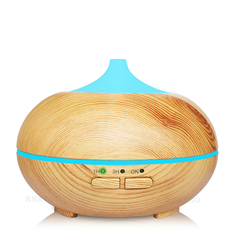 150ML Ultrasonic Humidifier With Wood Grain Design Electric Aroma Essential Oil Diffuser With 7 Color-Changing LED Mood Light