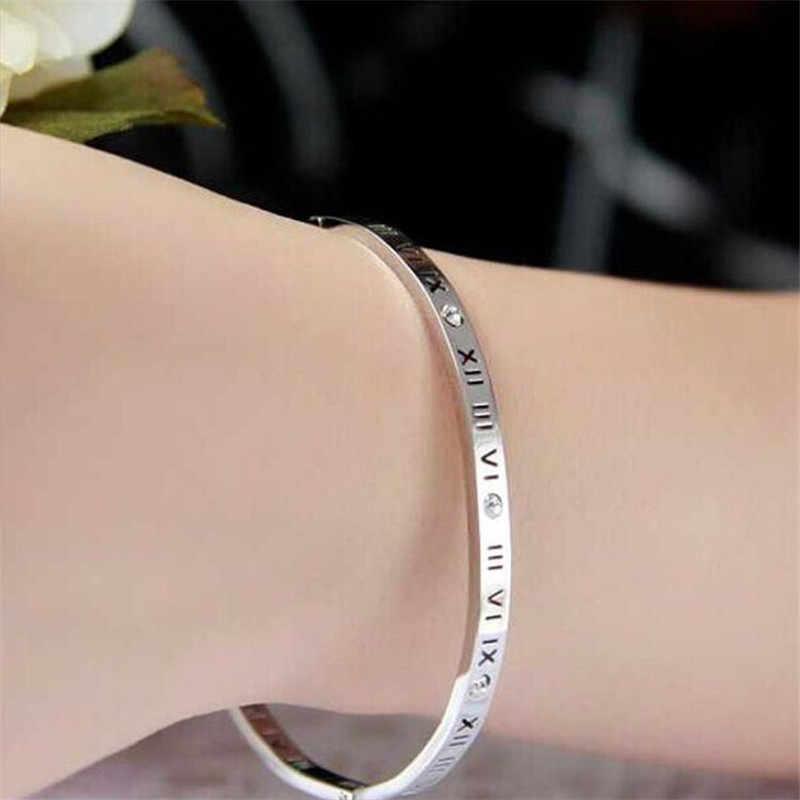 מכתב חלול רומית נשים אוהבים צמידי קריסטלים יוקרה צמידי צמידי נירוסטה דק זרוע קאף צמידי K050-1