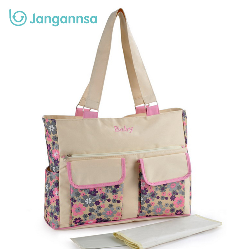 Flower Baby Diaper Bag Waterproof Nylon Handbag Female Large Capacity Mommy Nappy Bag With Changing Mat Fashion Diaper Nappy Bag new arrival shipping free baby diaper bag waterproof 600d nylon mommy bag changing bag women tote bag