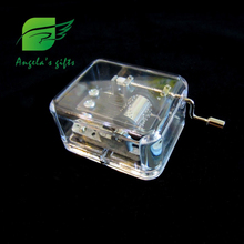 clear box music box, Fur Elise Hand crank music gifts for girls, wedding souvenir, home decor free shipping Angela's gifts