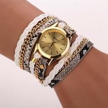 Relojes Mujer 2017 Leather Braided Wrap Bracelet Watches Women's Fashion Leopard Strap Quartz Wrist Watch Clock Relogio Feminino