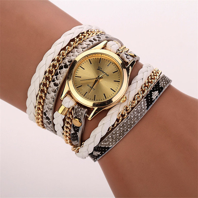 Relojes Mujer 2018 Leather Braided Wrap Bracelet Watches Women's Fashion Leopard