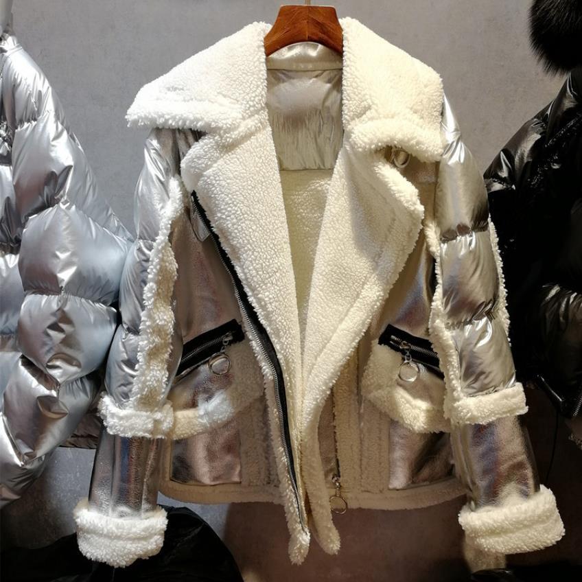 European fashion brand winter oversize loose bright silver lamb cashmere duck down coat female fashion thicker down coat wq752