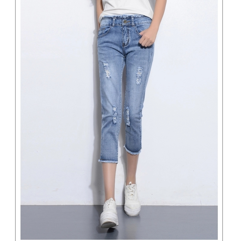 2018 Spring Summer High Waist Jeans Women Calf-Length Woman Skinny Feminino Capris Jeans Femme Short Denim Summer Pants