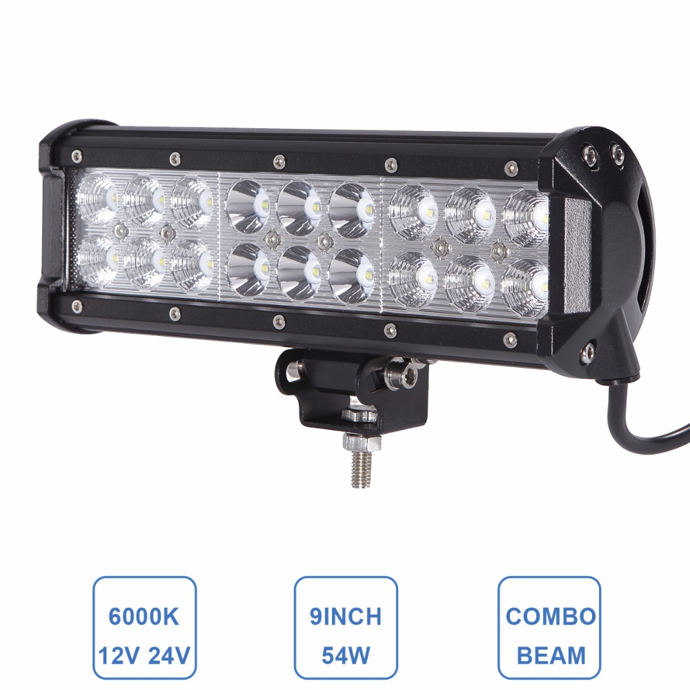 9 54W Offroad LED Work Light Bar 12V 24V Car Auto Driving Lamp ATV SUV 4WD 4X4 Tractor Wagon Trailer Truck Camper Headlight