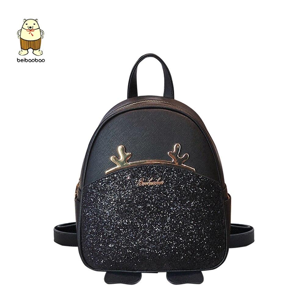 Beibaobao New Brand 2019 Women Backpacks Big School Bags For Girls Pu Leather Cute Elk Fashion