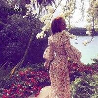 Truevoker Printemps Designer Superbe Maxi Robe Femmes Manches Bouffantes de Charme Rouge Floral Imprimé Broderie Mignon Parti Longue Robe