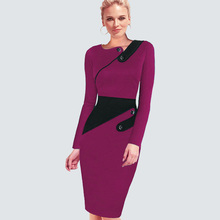 Women Office Business Dress Casual Tunic Bodycon Sheath Fitted Formal Pencil Dress Plus Size Elegant Wear To Work plus size fitted two tone dress