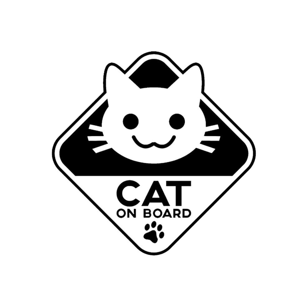 16CM16CM Funny Vinyl Sticker Car Decal CAT ON BOARD BlackSilverLaser (2)