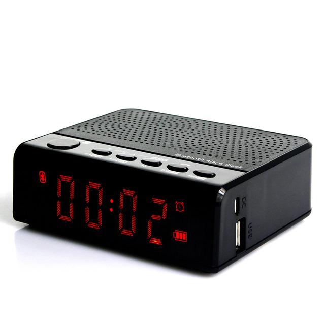 FM Radio portátil Con Altavoz Bluetooth Reloj Con Reproductor de MP3 Radio FM Llamada de Teléfono de la Batería 2000mA Y4366A