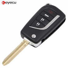 Keyecu Modified Replacement Shell Foldable Flip Remote Key Case for Toyota,4 Button with Uncut TOY43 Blade