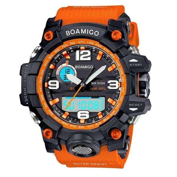 BOAMIGO brand men sports watches analog digital LED Electronic quartz watches 50M waterproof swimming watch