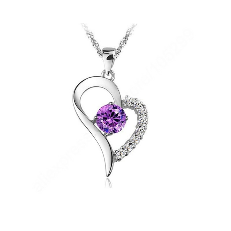 Purple Stone Superior Heart Necklaces & Pendants 925 Sterling Silver Cubic Zirconoa Jewelry Necklace With  18