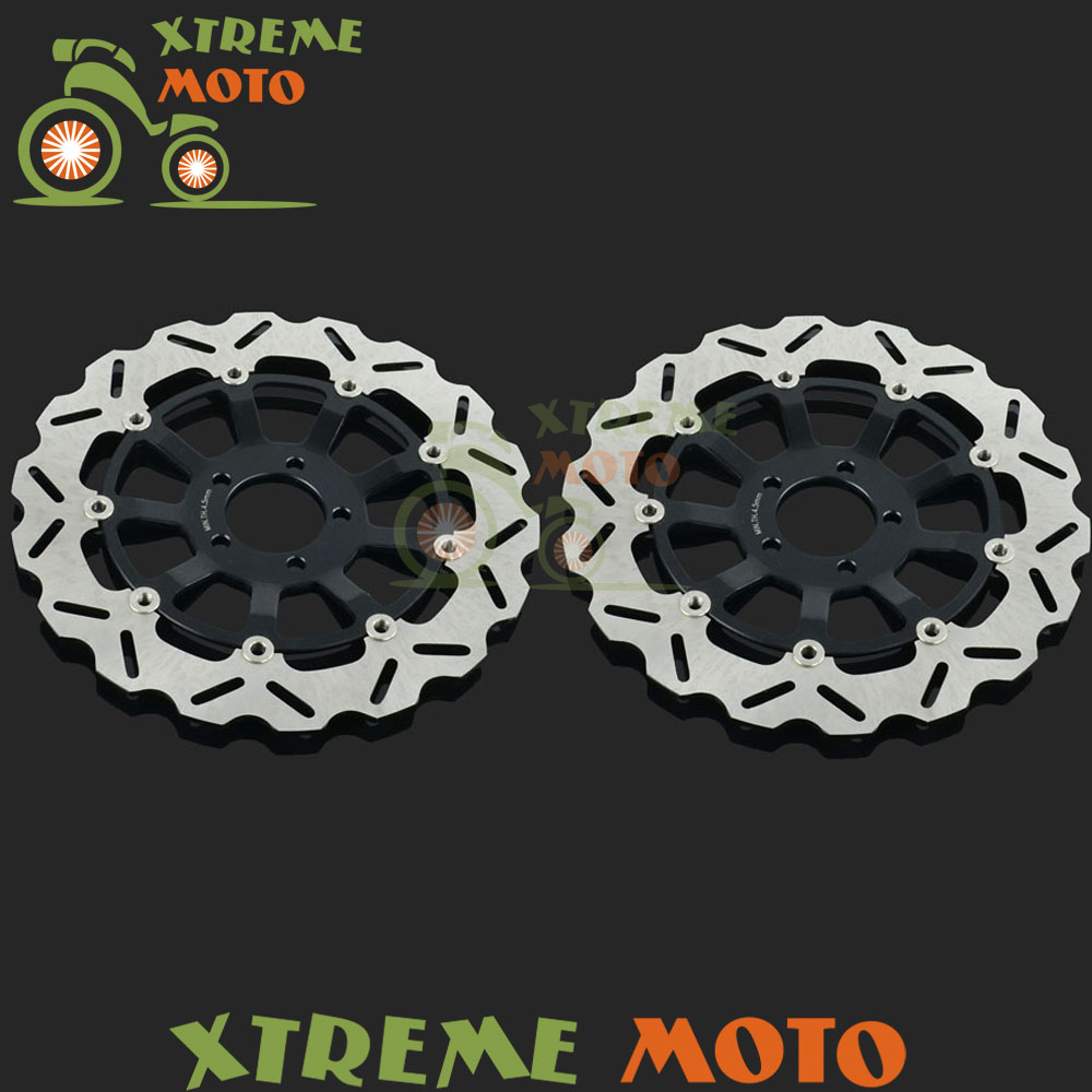 2Pcs Black Motorcycle Front Floating Brake Disc Rotor For ZX7R ZX7RR ZX9R ZX12R Ninja ZZR1100 ZZR1200 Supermoto Motocross цены онлайн
