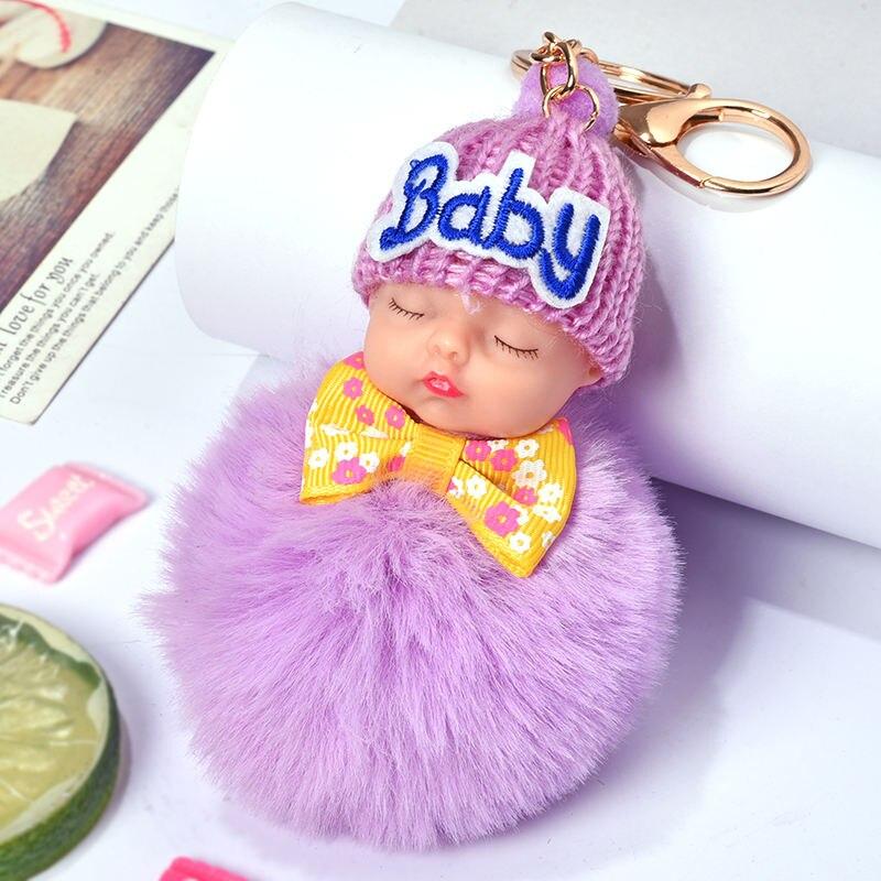 HYBZH Hot Sell Cute Sleeping Baby Doll Key Chain Faux Rabbit Fur Keychain Fluffy Pom Pom Keyring Bag Car Trinket Women Gift