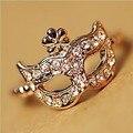 2015 New !!! Hot Fashion Fine Jewelry Wholesale 18 K Gold-plated Full Rhinestone Bohemian Style Mask Wedding Ring For Women R-80