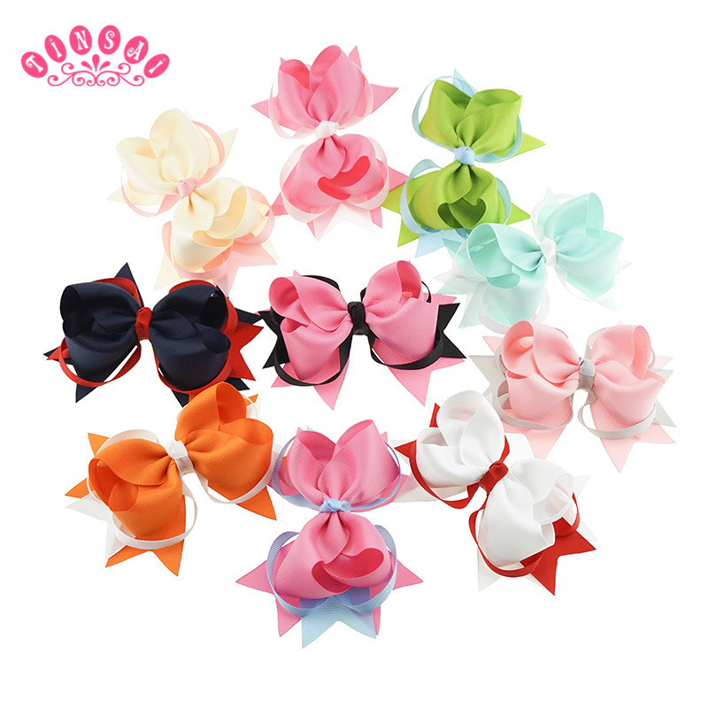 Hair Bows 5.5 inch 10Colors Hair Clip Double color is tie-in Hairpins Children Grosgrain Ribbon 2016 Baby Girl Hair Accessories 12 colors cute girls hairpins children elsa side knotted clip hairpin hair clip small size hair accessories