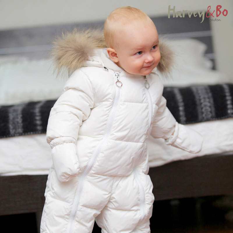 on feet shots of top-rated original catch US $52.49 25% OFF|Arvey&Bo baby toddler's one piece down coat raccoon fur  collar boys girls baby romper warm autumn winter infant snowsuit-in Rompers  ...