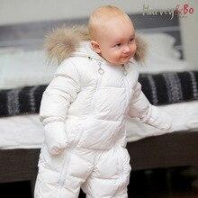 & Arvey ボーベビー幼児のワンピースダウンコートアライグマの毛皮の襟ボーイズガールズベビーロンパース暖かい秋冬幼児防寒着