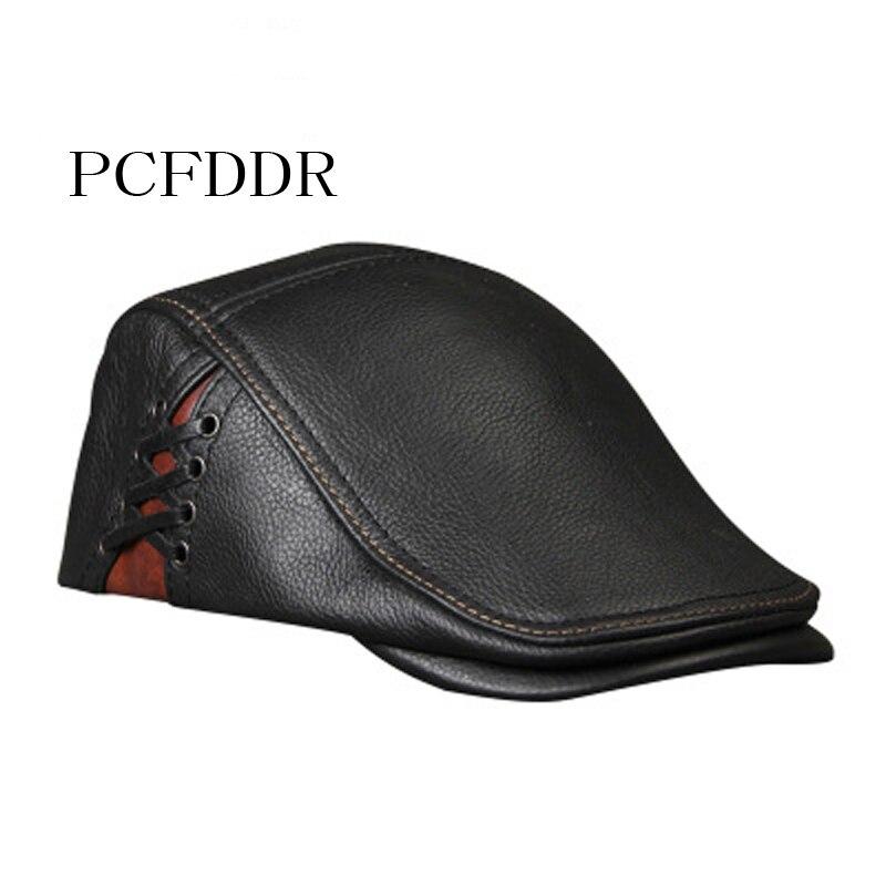 PCFDDR Autumn Winter Cowhide Flat Cap Men Women Gold Ivy Cabbie Hat Duckbill Boina Berets .