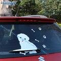 27*22.5 Movimento Da Cauda Do Carro 3D do decalque Bonito White Dog auto Adesivos Refletivos Decalques Decoração acessórios do carro Limpador Traseiro carro-Styling