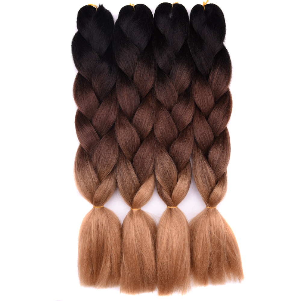"Ombre Braiding Hair Extensions 1Pack 24"" 100G Jumbo Braid Long Brown Synthetic Dreads Crochet Braids Full Star Hair(China)"