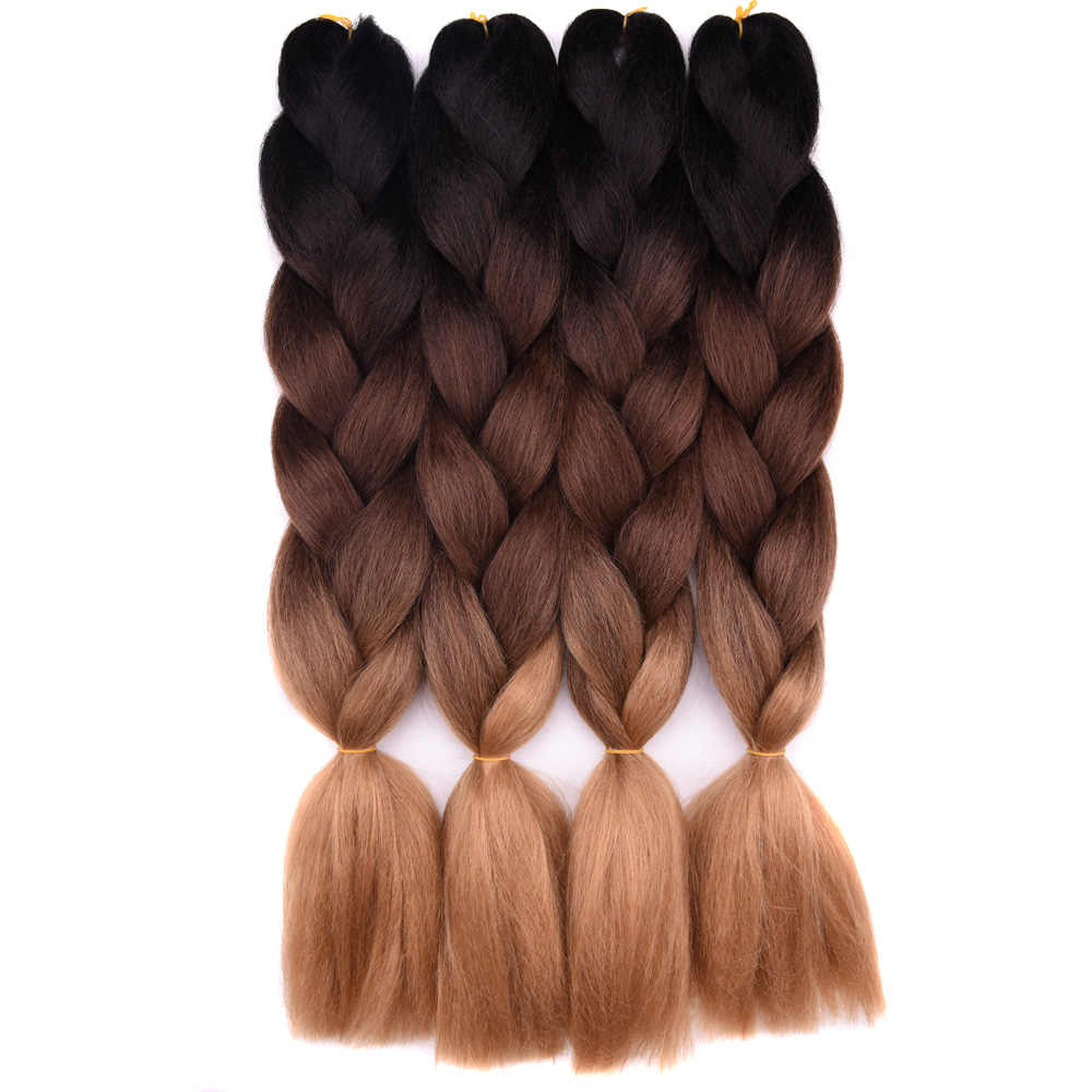 "Ombre braiding hair Extensions 1Pack 24"" 100G jumbo braid Long Brown Synthetic dreads Crochet braids Full Star Hair"