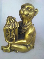 Chinese hand carved brass monkey hug box sculpture art collection
