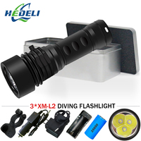 3led underwater video light scuba flashlights rechargeable torch 26650 cree xm l2 waterproof lantern searchlight lampe tactique