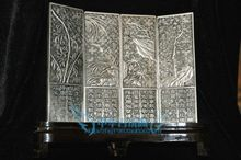 Chinese Boutique collection Tibetan silver carving flower folding screen