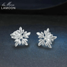 LAMOON 2017 New Snowflake Shaped 100% Real 925-Sterling-Silver Stud Earrings S925 Fine Jewelry For Women Girl Gift LMEY007