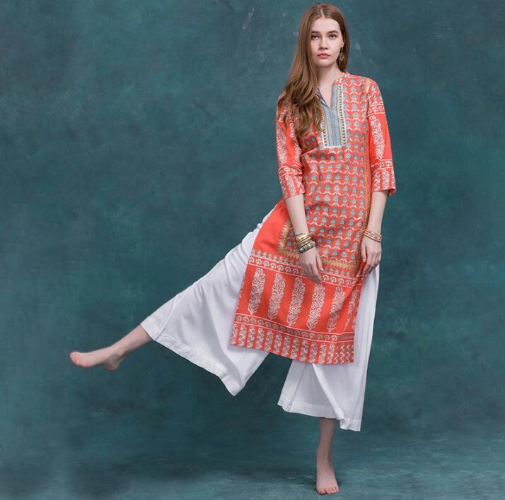 Inde mode femme Styles ethniques imprimer Costume haut en coton printemps été voyage danse vêtements dame confortable Long haut