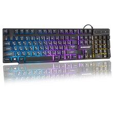 Teclado USB para juegos por cable, 104 teclas, diseño en inglés ruso, teclado brillante arcoíris para ordenador portátil, ordenador portátil