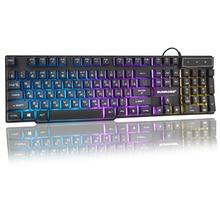 USB przewodowa klawiatura do gry 104 klawiszy rosyjski angielski układ Rainbow Glow klawiatura do komputera Notebook Desktop Laptop