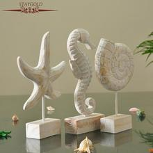 Mediterranean Style Solid Wood Crafts Wooden Decoration Creative Jewelry Starfish Conch Hippocampus Carving